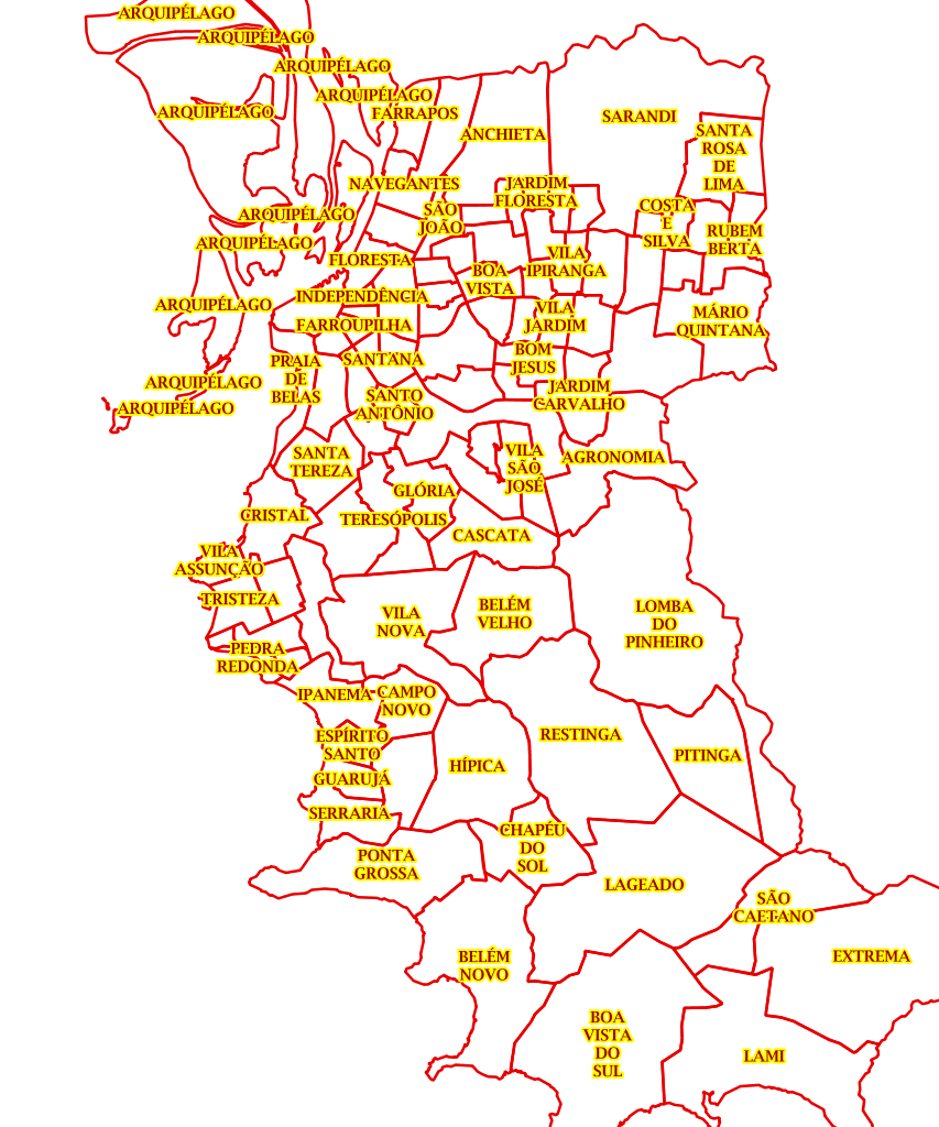 Mapa Oficial de Porto Alegre